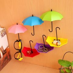 3pcs Creative Umbrella Shape Wall Mount Key Holder Wall Hook Hanger Organizer