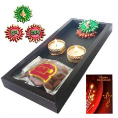 Maalpani Gift Tray with quality dry fruits Floor Rangoli and Tealight Unique Candle Holders For Diwali Gift