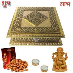 Maalpani Premium dry fruits Hamper - Ganesh Idol and  Golden Tealight Candle Holders and Candles chocolate Deepavali Greeting Card