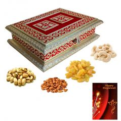Maalpani Diwali Dry Fruit Gift box - Red Minakari Dry fruit Box with finest quality dry fruits