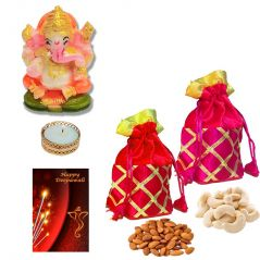 Maalpani Gift Hamper for Diwali 2017 - Designer Fancy Batwa Potli with finest Dryfruits n Shubh Labh Ganesh Floor Rangoli with Greeting card