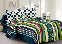 Welhouse Cotton Stripes Multicolor Double Bedsheet With 2 Contrast Pillow Covers(TC-129)
