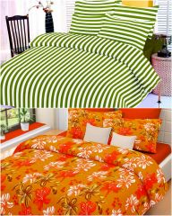 Welhouse India Combo Of 2 Cotton Double Bed Sheet With 4 Pillow Covers - TC-250