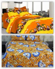 Double Bed Sheets - 100% Cotton 2 Double Bed Sheets with 4 Pillow Covers by Welhouse
