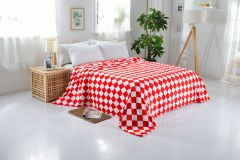 Welhouse India Red & White Square Design Double Blanket