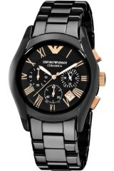 Shop or Gift Imported Emporio Armani Ar1410 Gents Ceramic Black Chronograph Watch Online.