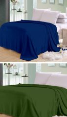 Sai Arpan Plain Double Bed Ac Blanket Buy 1 Get 1 Free_blue-green - Buy One Get One Free