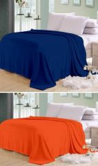 Sai Arpan Plain Double Bed Ac Blanket Buy 1 Get 1 Free_blue-orange - Buy One Get One Free