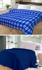 Sai Arpan Plain Double Bed Ac Blanket Buy 1 Get 1 Free_bluecheck-plainblue - Buy One Get One Free
