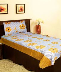 Sai Arpan's Brown Cotton Single Bed Sheet with Pillow Cover