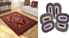 Shop or Gift Sai Arpan's Traditional Design Carpet (5x7 Feet) with 6 Door Mats Online.