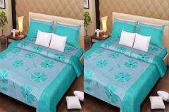 Handloomdaddy Cotton Pack Of 2 Designer Light Green Double Bedsheet With 4 Pillow Covers-design147