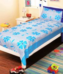 Sai Arpan's Blue Cotton Single Bed Sheet with Pillow Cover