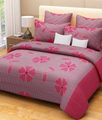 Shop or Gift Sai Arpan's Pink Cotton Double Bed Sheet with Pillow Covers Online.