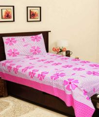 Sai Arpan's Pink Cotton Single Bed Sheet with Pillow Cover