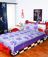 Sai Arpan's Purple Cotton Single Bed Sheet with Pillow Cover