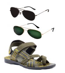 Combo Of Provogue And Fastfox Stylish & Attractive Olive Floater Sandals And Two