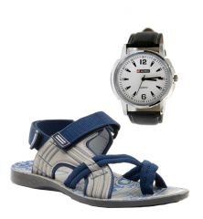 Kids' Footwear - Provogue Stylish & Attractive Blue And Grey Floater Sandals And Lotto Watch