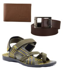 Provogue Stylish & Attractive Olive Floater Sandals With Belt And Wallet