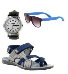 Provogue Stylish & Attractive Blue And Grey Floater Sandals With Blue Wayfarer And Lotto Watch