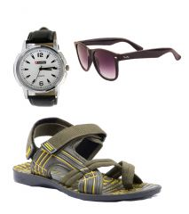 Provogue Stylish & Attractive Olive Floater Sandals With Black Wayfarer And Lotto Watch