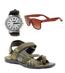Provogue Stylish & Attractive Olive Floater Sandals With Brown Wayfarer And Lotto Watch