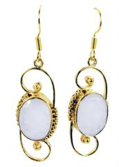 Riyo White Agate Gold Plated Designs Fashion Earrings L 1.5in Gpeage-0005)