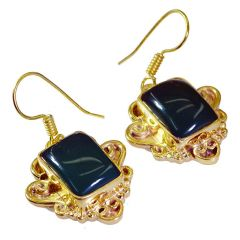 Riyo Green Onyx 18 Ct Gold Plating Fashion Earrings L 1.5in Gpegon-30006)