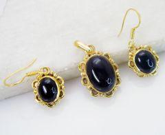Riyo Black Onyx Base Matel Pendant Earring Set L 1.2in Gpsbon-6002)