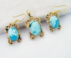 Riyo Turquoise 18k Y Gold Plating Pendant Earring Set L 1.2in Gpstur-82003)
