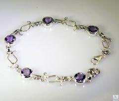 Riyo Amethyst Beaten Jewellery Delicate Silver Bracelet Length 7.5 inches - Product Code - (SBRAAME-2008)