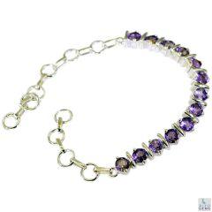 Riyo Amethyst Buy Jewellery Online Large Link Silver Bracelet Length 7.5 inches - Product Code - (SBRAAME-2021)