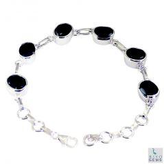 Riyo Black Onyx Chunky Costume Jewellery Silver Bracelet Women Length 7.5 inches - Product Code - (SBRABON-6006)