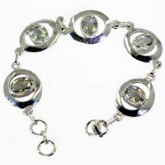 Riyo Green Amethyst 925 Jewellery 925 Silver Bracelet Length 7.5 inches - Product Code - (SBRAGAM-28001)