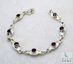 Riyo Garnet Baby Jewellery Ladies Silver Bracelet Length 7.5 inches - Product Code - (SBRAGAR-26003)