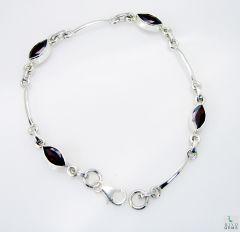 Riyo Garnet Best Jewelry Personalized Silver Bracelet Length 7.5 inches - Product Code - (SBRAGAR-26009)