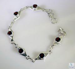 Riyo Garnet Brushed Jewelry Silver Bracelet Bangle Length 7.5 inches - Product Code - (SBRAGAR-26016)