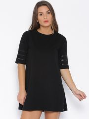 Cult Fiction Women's Clothing - Cult Fiction Black color Boat neck A-Line Dress for women