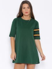 Cult Fiction Women's Clothing - Cult Fiction Dark green color Boat neck A-Line Dress for women