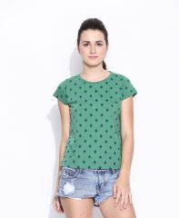 Cult Fiction Green Cotton Printed Cap Sleeve Tee For Women