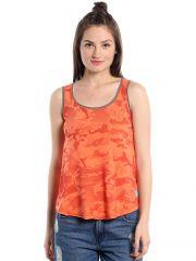 Cult Fiction comfort fit 100% Cotton Fabric Medium Orange Scoop Neck Tank Top For Women