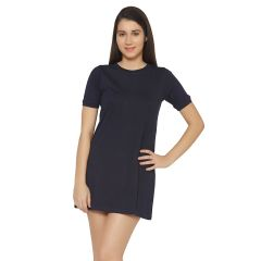Cult Fiction Navy Blue Color Round Neck Short Sleeves Cotton Dress For Womens