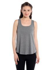 Cult Fiction Comfort Fit 100% Cotton Fabric Grey Melange U Neck T-Shirt For Women-CFG9GRM2023