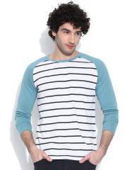 Cult Fiction comfort fit White Melange color Round Neck Cotton T-shirt for Men-CFM03WHM847