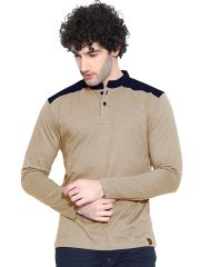 Cult Fiction Brown Marl color Henley Neck Full Sleeve men's T-shirt (Product Code - CFM04BRM788)