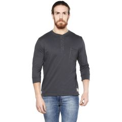 Cult Fiction Charcoal color Henley Neck Full Sleeve men's T-shirt (Product Code - CFM04CHR1012)