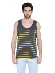 Cult Fiction Comfort Fit Round Neck Charcoal color Sleeveless T-shirt for men-CFM10CHR1034