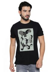 Cult Fiction Black Cotton Half Sleeve T-Shirt For Men