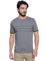 Cult Fiction Grey Melange Cotton Half Sleeve Self Design T-Shirt For Men