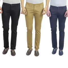 Trousers (Men's) - Masterly Weft 'Black'Khaki'Neavy Blue Men's Chinos Pack Of 3